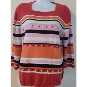Alfred Dunner Striped Embellished Sweater XL